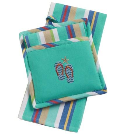 DII Pocket Pot Holder and Dish Towel Set in Flip Flops