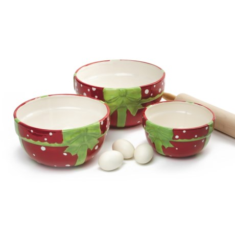 DII Polka-Dot Present Mixing Bowls - Set of 3, Ceramic in Polka Dot