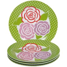DII Porcelain Dessert Plates in Hat Box - Set of 4 in Mums Garden - Closeouts