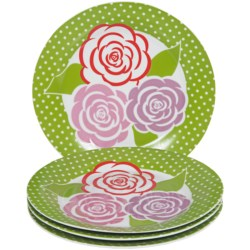 DII Porcelain Dessert Plates in Hat Box - Set of 4 in Mums Garden