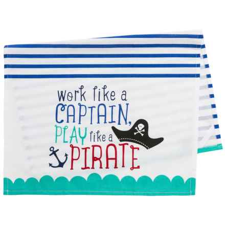 DII Printed Coastal Dish Towel - Cotton in Captain Pirate - Closeouts