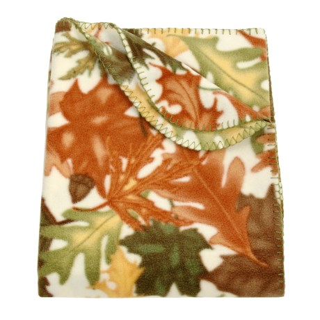 "DII Printed Fleece Throw Blanket - 50x60"" in Leaves"