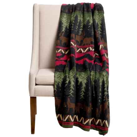 "DII Printed Fleece Throw Blanket - 50x60"" in Wilderness Stripe - Closeouts"