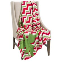 """DII Printed Fleece Throw Blanket - 50x60"""" in Holiday Chevron - Closeouts"""