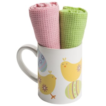 DII Spring Mug and Dish Towel Gift Set in Easter Peeps