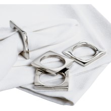 DII Square Silver Napkin Rings - Set of 4 in Silver - Closeouts