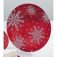 "DII Sweet Snowflakes Serving Plate - 12"", Glass in Red/White - Closeouts"