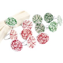 DII Swirling Snowflakes Napkin Rings - Set of 12 in Multi - Closeouts