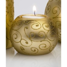 "DII Tea Light Holder - 3"" Round, Ceramic in Gold Scroll - Closeouts"