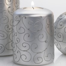 "DII Tea Light Holder - 4"" Pillar, Ceramic in Silver Scroll - Closeouts"