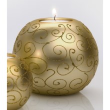 "DII Tea Light Holder - 4"" Round, Ceramic in Gold Scroll - Closeouts"