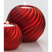 "DII Tea Light Holder - 4"" Round, Ceramic in Red Spiral - Closeouts"