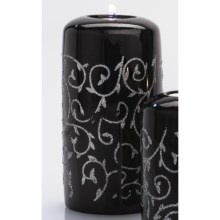 "DII Tea Light Holder - 6"" Pillar, Ceramic in Black & Silver Vine - Closeouts"