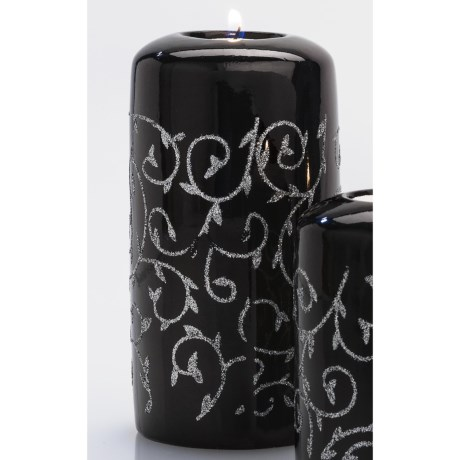 "DII Tea Light Holder - 6"" Pillar, Ceramic in Black & Silver Vine"