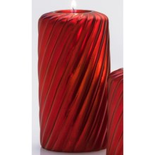 "DII Tea Light Holder - 6"" Pillar, Ceramic in Red Spiral - Closeouts"