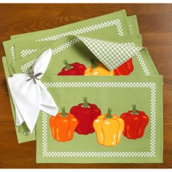 DII Vegetable Placemats - Set of 6, Reversible in Peppers
