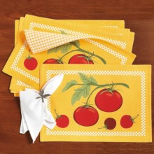 DII Vegetable Placemats - Set of 6, Reversible in Tomatoes - Closeouts