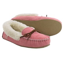 Dije California Moccasin Slippers - Suede, Merino Wool Lined (For Little and Big Girls) in Pink - Closeouts