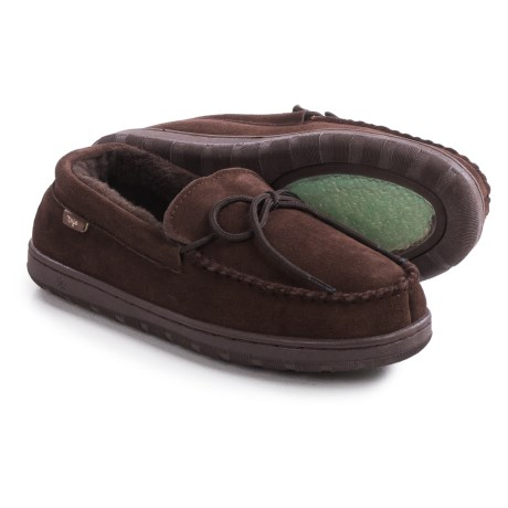 Dije California Moccasins - Suede, Sheepskin Lined (For Men) in Chocolate