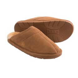 Dije California Suede Scuff Slippers - Sheepskin Lined (For Men) in Chestnut
