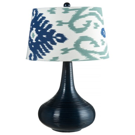 Dimond Lighiting Ceramic Lamp with Printed Shade in Navy Blue