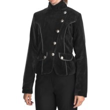 Dimri Velvet Asymmetrical Jacket (For Women) in Black - Closeouts