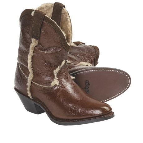 Dingo 5 Below Cowboy Boots - Shearling Lining (For Women) in Tan