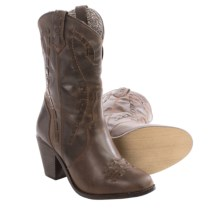 Dingo Lace-Accent Cowboy Boots - Leather, Round Toe (For Women) in Dark Brown - Closeouts