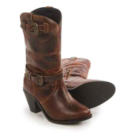 Dingo Nelly Cowboy Boots - Leather, Round Toe (For Women) in Brown - Closeouts