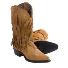 """Dingo Tres Fringe Cowboy Boots - 12"""", Snip Toe (For Women) in Tan - Closeouts"""