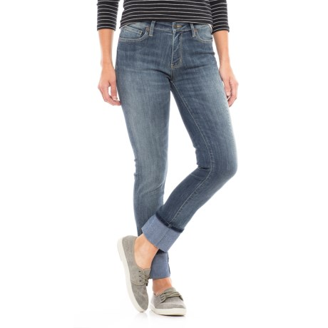 dish denim Straight and Narrow Jeans - Mid Rise (For Women) in Dirty Wash