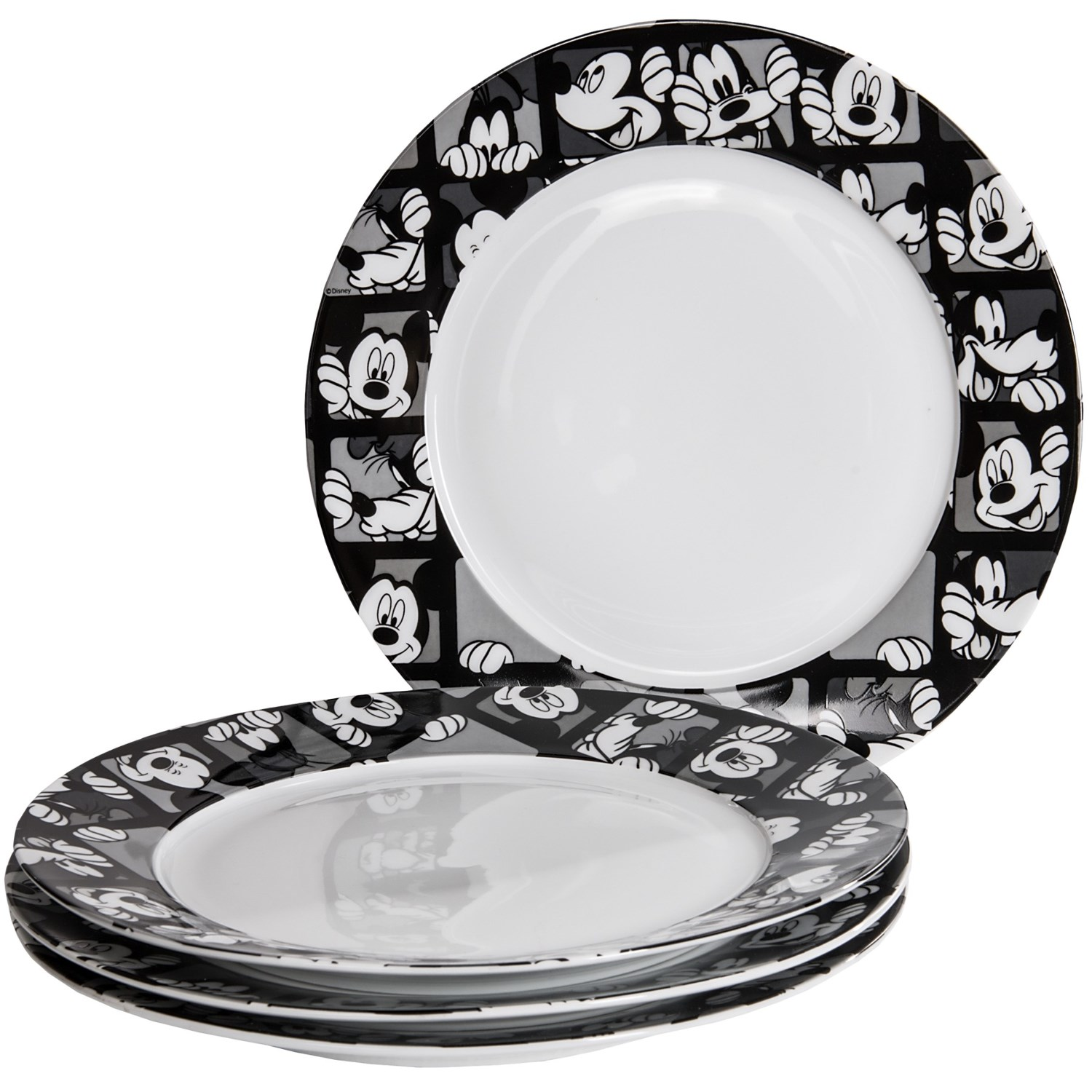 disney mickey grid porcelain dinner plates set of 4 in mickey grid