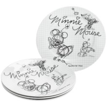 Disney Sketch Book Porcelain Salad Plates - Set of 4 in Minnie - Overstock