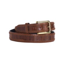 DiStefano Caiman Crocodile and Java Lizard Leather Belt - 31.5mm (For Men) in Cognac - Closeouts