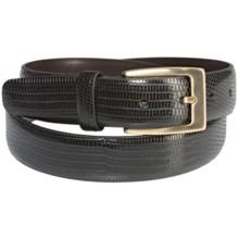 DiStefano Lizard Print Belt - Leather, Brass Buckle (For Men) in Black - Closeouts