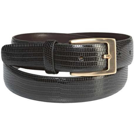 DiStefano Lizard Print Belt - Leather, Brass Buckle (For Men) in Black