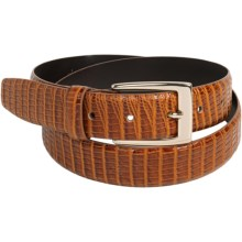 DiStefano Lizard Print Belt - Leather, Brass Buckle (For Men) in Honey Tan - Closeouts