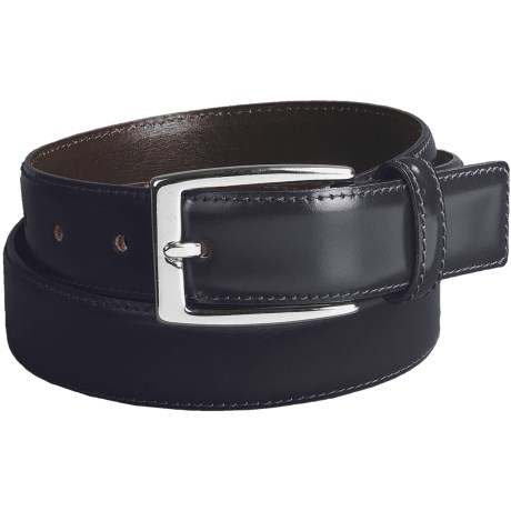 DiStefano Polished Dress Belt - Stitched, 30 mm in Navy Blue