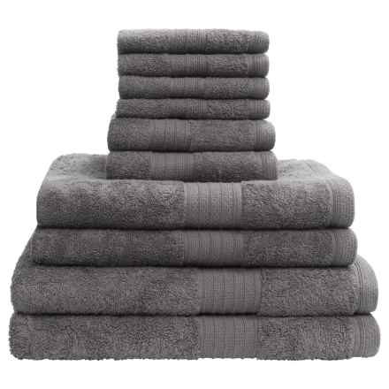 Divatex Home Fashions Deluxe Towel Set - Cotton, 10-Piece in Grey - Closeouts
