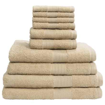 Divatex Home Fashions Deluxe Towel Set - Cotton, 10-Piece in Neutral - Closeouts