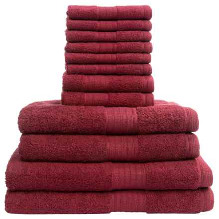 Divatex Home Fashions Deluxe Towel Set - Cotton, 12-Piece in Cranberry - Closeouts