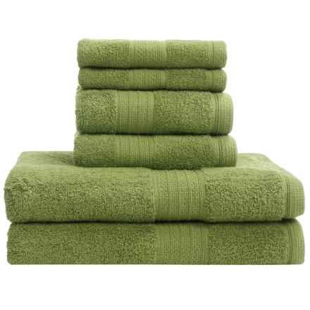 Divatex Home Fashions Deluxe Towel Set - Cotton, 6-Piece in Avocado Green - Closeouts