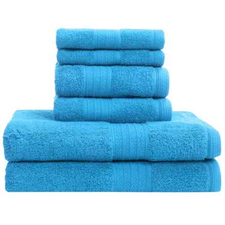 Divatex Home Fashions Deluxe Towel Set - Cotton, 6-Piece in Blue - Closeouts
