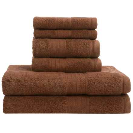 Divatex Home Fashions Deluxe Towel Set - Cotton, 6-Piece in Brown - Closeouts