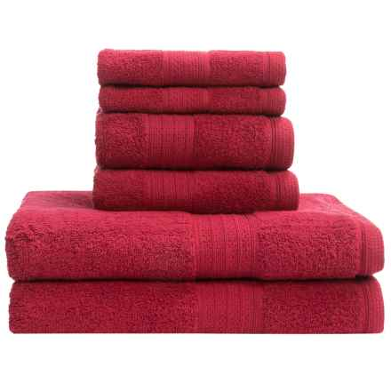 Divatex Home Fashions Deluxe Towel Set - Cotton, 6-Piece in Tomato Red - Closeouts