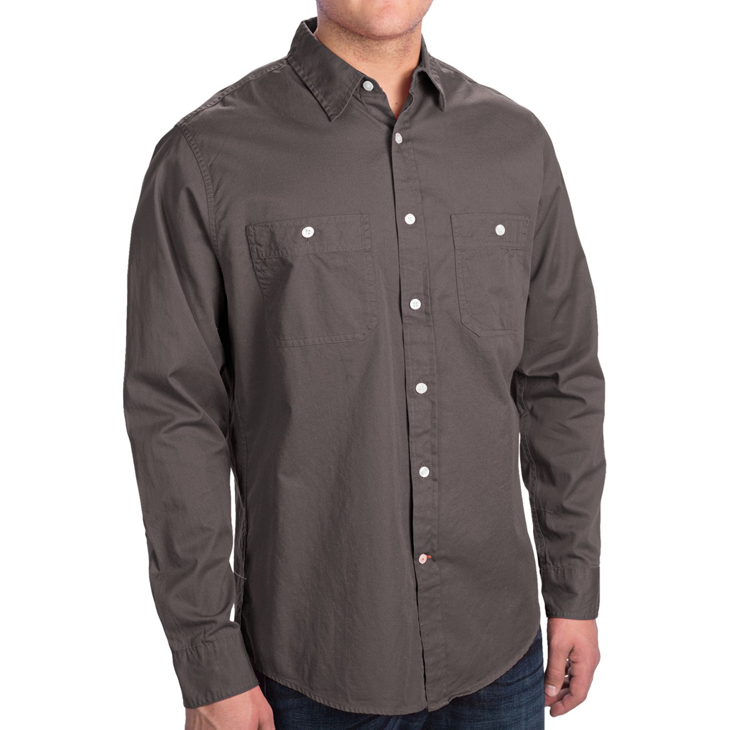 dockers solid cotton twill shirt long sleeve for men
