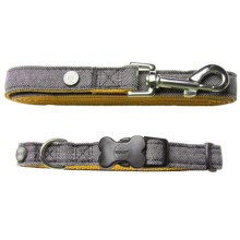 Dog For Dog Collar and Lead Set in Grey/Yellow - Closeouts