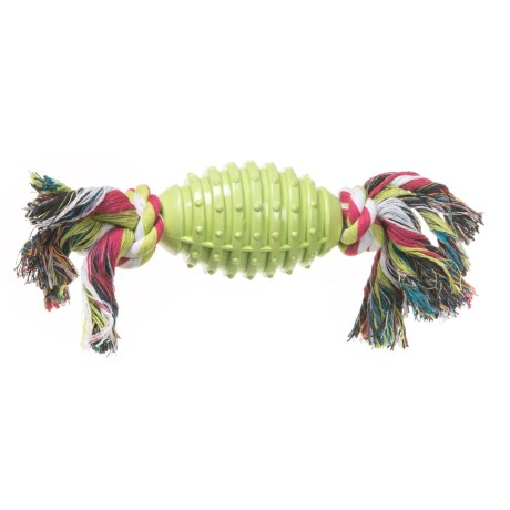 Dog for Dog Rubber Rugby Teether Dog Toy with Rope in Green