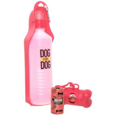 Dog for Dog Water Bottle and Waste Bag Dispenser Kit - 16 oz. in Pink - Closeouts