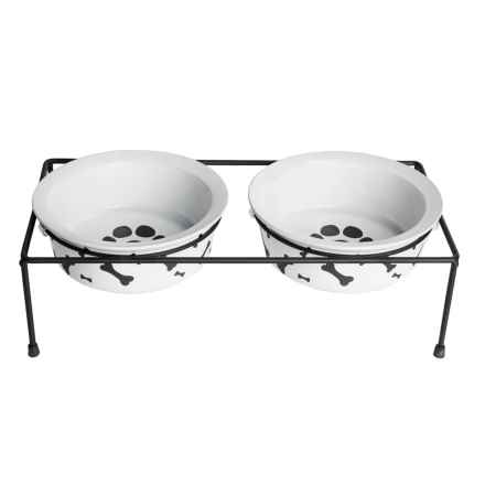 """DOGHAUS Bone Print Elevated Ceramic Bowl Set - 3-Piece, 6"""" in Charcoal - Closeouts"""